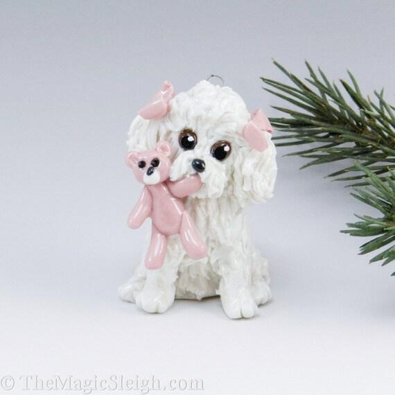 Bichon Frise Ornament Pink Teddy Bear toy Porcelain