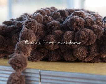 Big Brown Pom Poms   - 3 yards Vintage Fabric Trim Ball Fringe Chocolate 60s 70s New Old Stock