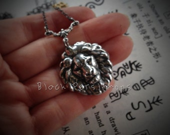 The Baby Lion Necklace - American Made Antique Plated Brass Stamping - 2 Color Finishes - Free Domestic Shipping