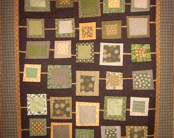 Patchwork Quilt - olive, gold and brown Japanese String of Squares wallhanging or throw