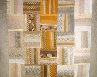 Patchwork Quilt - taupe and gold Japanese Askew throw quilt