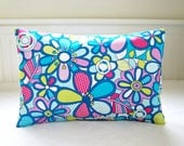 decorative pillow cover 12 x 18 inch lumbar retro style cushion cover, blue lime pink flowers floral flowers