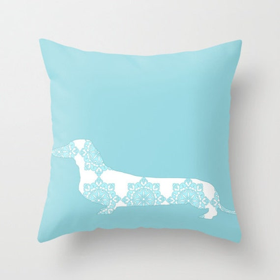 Throw Pillows Dog : Blue Damask Daschund on Throw Pillow Dachshund dog