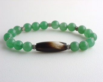 Green Jade and Bone Bracelet / Ethnic Stacking Bracelet / Funky Bracelet / Jade Beaded Bracelet / Quill / Native Inspired / Bohemian Style