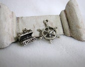 Pirate Charm Pair - Treasure Chest and Ship's Wheel