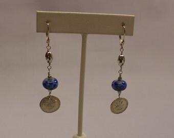 Metal Clay and Lampwork Earrings