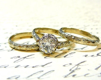 Georgiana Ring Trio - Vintage Engagement 14k White Gold Ring Trio with 1 carat Swarovski CZ