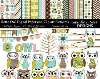 Retro Owl Digital Clipart Elements and Papers Commercial use for paper, invites Instant Download
