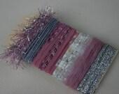 Elegant Christmas rose two specialty yarn fiber embellishment bundle