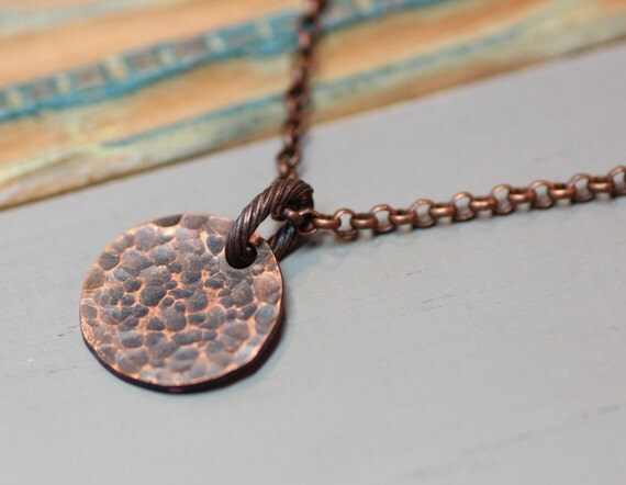 Textured Copper Necklace Full Moon Copper Pendant Necklace Antiqued Copper Rustic Jewelry