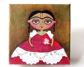 Frida in a red and white dress - an original folk art mixed media painting