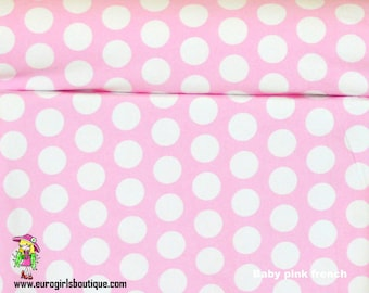 Knit pink and white  dots 1/2 yard