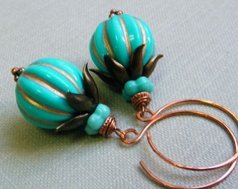Turquoise and Gold Vintage Style Dangling Earrings
