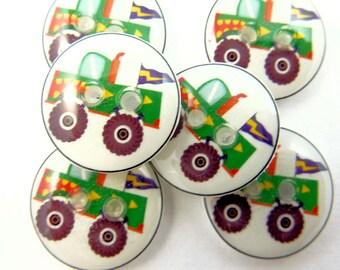 6 SMALL Green Monster Truck Buttons. Handmade Buttons.  Monster Truck Sewing Buttons.