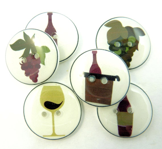 6 Wine Themed Buttons 3 4 Or 20 Mm Sewing Buttons