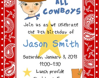 Children birthday party invitation,Cowboy birthday invitations, boy party invitation, childs party invitation Birthday invitation,