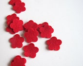 Little Red Felt Flowers  -  Wool Felt Tiny Blossoms Set of 15 - For crafting, confetti, scrapbooking, hair accessories and more