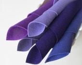 Purple Felt, 100% Wool, Five Sheets, Shades of Purple, Grape, Thistle, Violet, Deep Purple, 8 x 12 Inch, 1mm Thick, Sewing, Appliqué