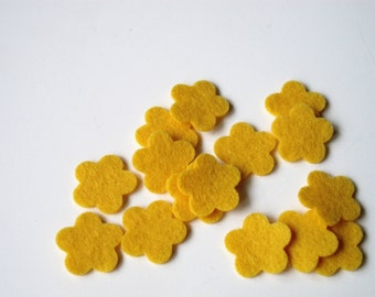 Felt Flowers, Butter Yellow Wool Felt Tiny Blossoms, Set of 15 for Applique Sewing Craft Scrapbooking Confetti Wedding Shower
