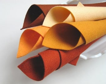 100% Wool, Felt Fabric, Pumpkin Spice Color Story, Fall, Autumn, Earth Tones, Harvest, Primitive, Applique, Die Cutting, Embroidery, Sewing