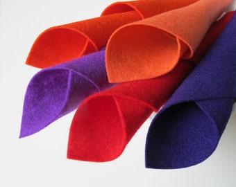 Wool Felt Sheets, Pump It Up Color Story, Deep Purple, Red, Orange-Red, Shrimp, Purple, Strong Colors, Felt Assortment, Handwork, Applique