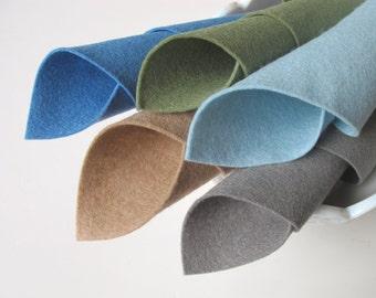100% Wool Felt, Five Sheet Set, Duck Pond Color Story, Smoke Grey, Wedgwood Blue, Beige, Aquamarine, Grey Green, Waldorf Crafts, Soft Colors