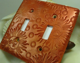 Orange Bronze Polymer Clay Light Switch Plate Cover