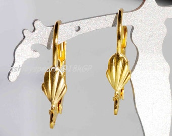 18k yellow Gold plated over Copper Lever Back Earring Wire with Shell Adornment and Loop - Nickel Free - 10 Pc -F9115