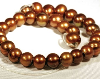 Large Hole Pearl Round Pearl Freshwater Pearl brown chocolate AA 7-8mm with 2.5mm hole beads--10 pieces high quality