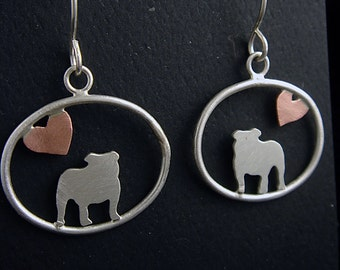 English Bulldog Sterling Dangle Earrings with Tiny Heart