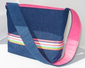 Denim handbag purse with ribbon trim