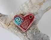 Red With Turquoise Glass Infused Pottery Heart Focal Pendant, Handmade J17