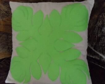 Tropical Hawaiian Quilt Design Maui Beauty Protea Flower Felt Applique Pillow Cover 16 x 16 inches