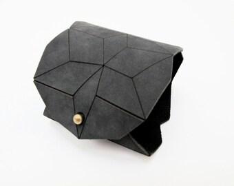 geometric leather bracelet, charcoal lasercut cuff