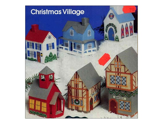 Vintage Miniature Christmas Village Pattern Book Aida Plus 3D Cross Stitch Houses Church School Store