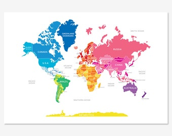World Map in Bright Colours
