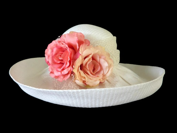 "Kentucky Derby Hat, Easter Hat, Spring Fashion Hat, in White - ""LAGUNA BEACH BEAUTY"""