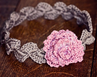 Crochet PATTERN  - Centifolia Rose Headband (sizes - baby to adult)