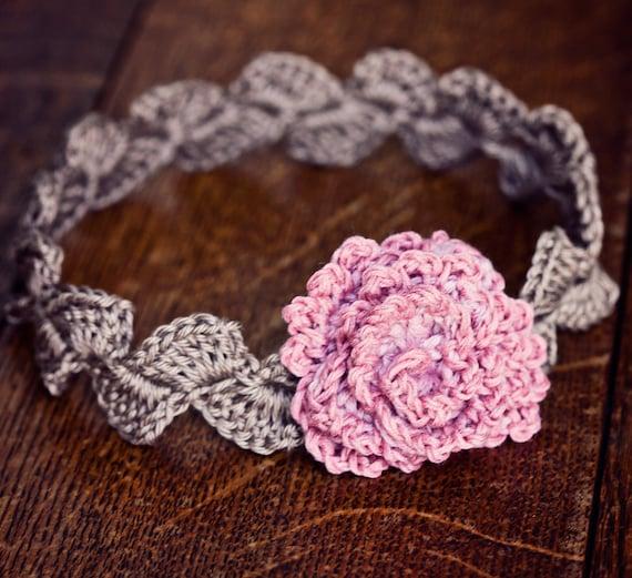 Descarga instantánea , Crochet Patrón (archivo pdf) , diadema Rosa Centifolia (tamaños ,