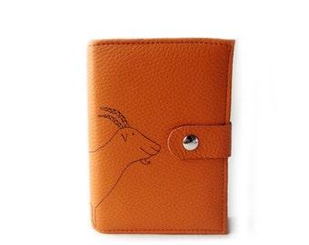 leather agenda orange goat diary journal