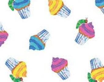 Eric Carle The Very Hungry Caterpillar Birthday Fabric Caterpillars and Cupcakes 1/2 Yard