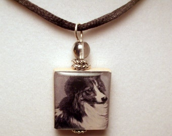 Sheltie Scrabble Pendant / Beaded / Charm / Necklace with Satin Cord / Dog Lover Jewelry / Shetland Sheepdog