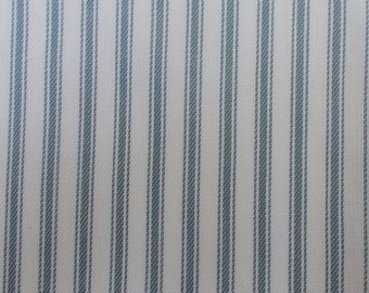56 Inch Wide Yarn Dyed Cotton Light Blue and White Ticking Stripe Fabric By the Yard