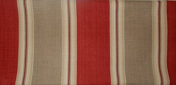 Waverly Country Club Ticking Stripe Fabric Tomato Red Tan