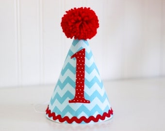 Aqua and Red Chevron fabric party hat 1st birthday hat cake smash photo prop
