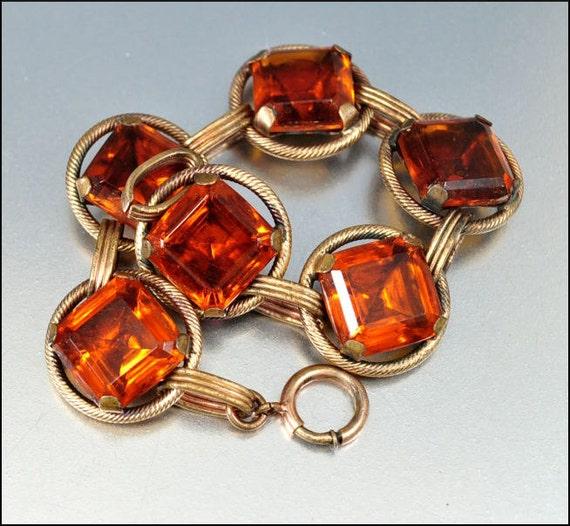 Art deco bracelet topaz glass art deco jewelry gold vintage for Art deco costume jewelry