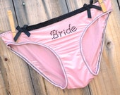 BACHELORETTE  Lingerie with bling BRIDE underwear pink and black  -  Bride in rhinestones size Medium -Ships in 24hrs