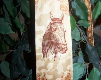 price reduced Lovely VINTAGE NECKTIE Featuring HORSE, Iridiscent Gold and Burgundy, 1940's