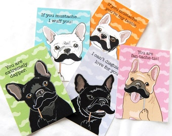 Frenchie Mustache Valentine Cards - Eco-friendly Set of 5