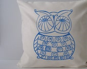 Owl Pillow Cover - Cushion Cover - 16 x 16 inches - Choose your fabric and ink color